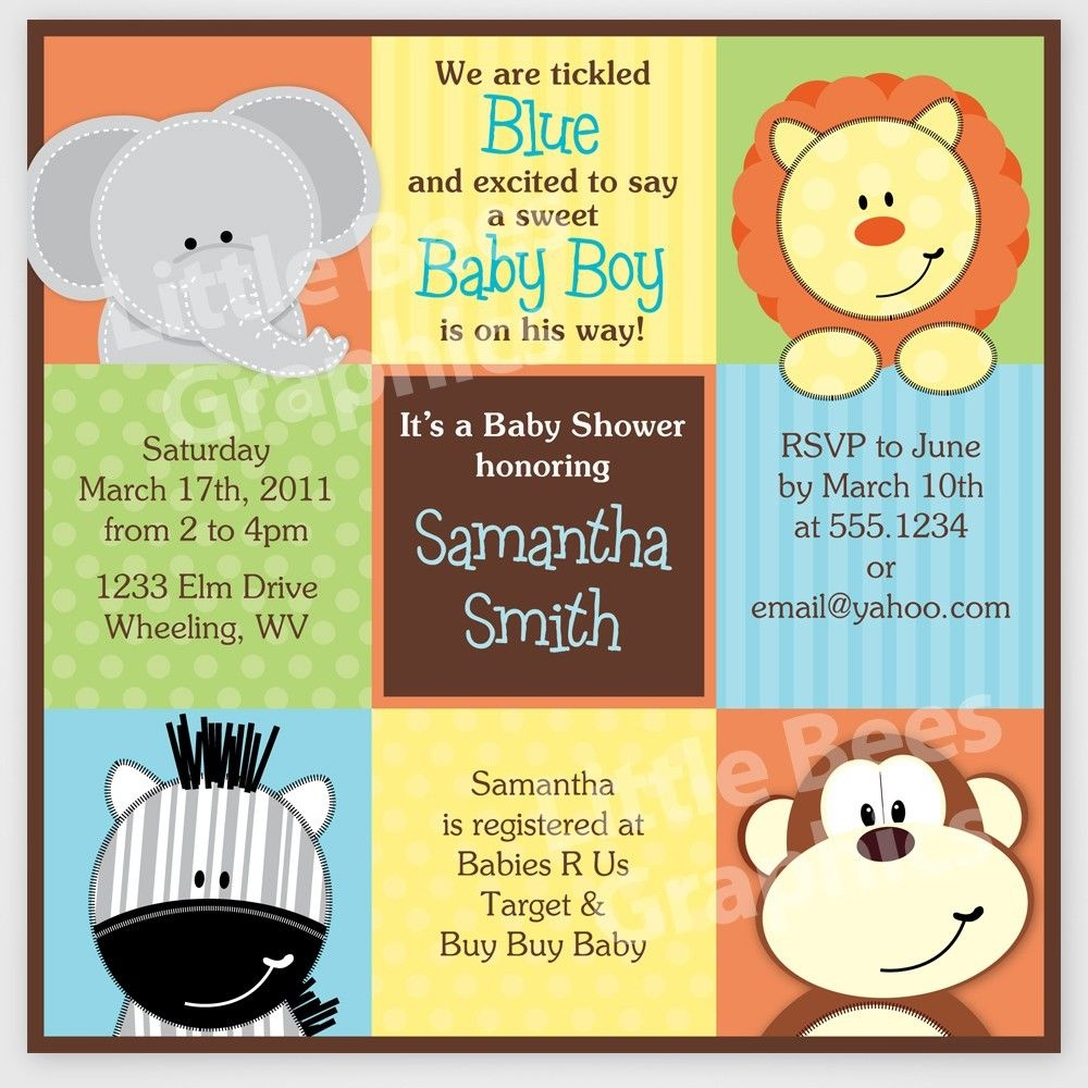 Free Printable Baby Shower Invitations | Stylish Jungle Animals - Free Jungle Printables