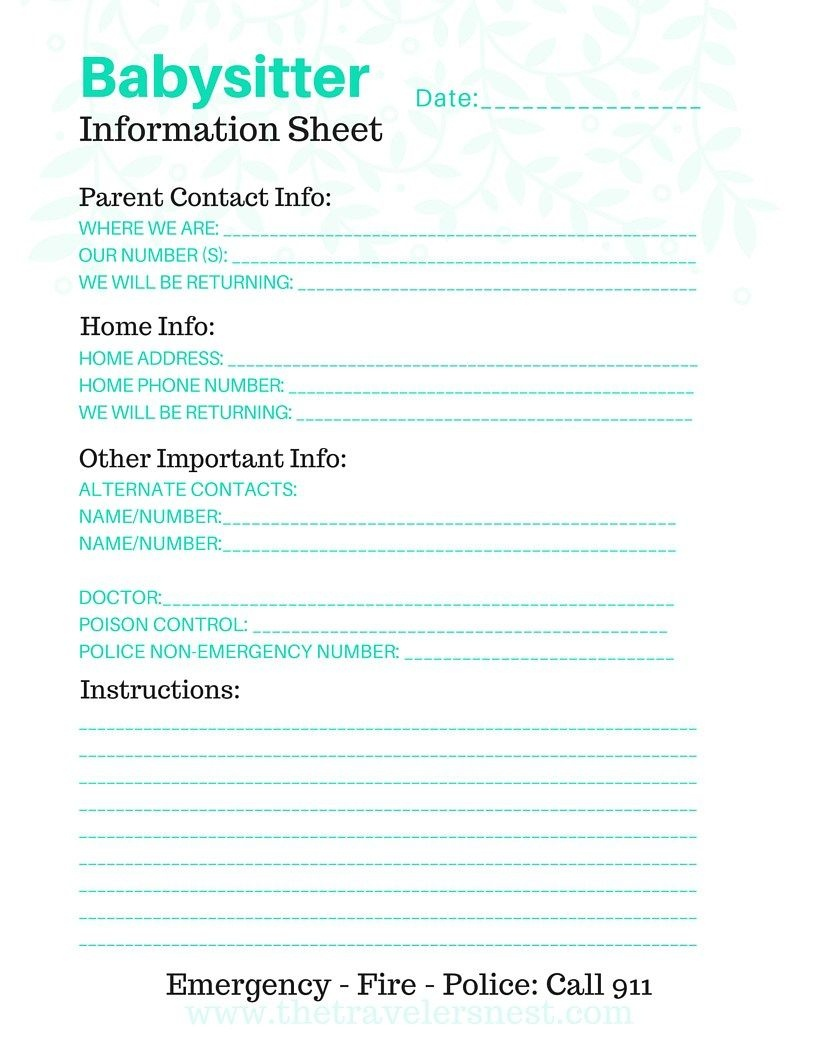 Free Printable: Babysitter Info Sheet   Note To Self   Free - Free Printable Parent Information Sheet