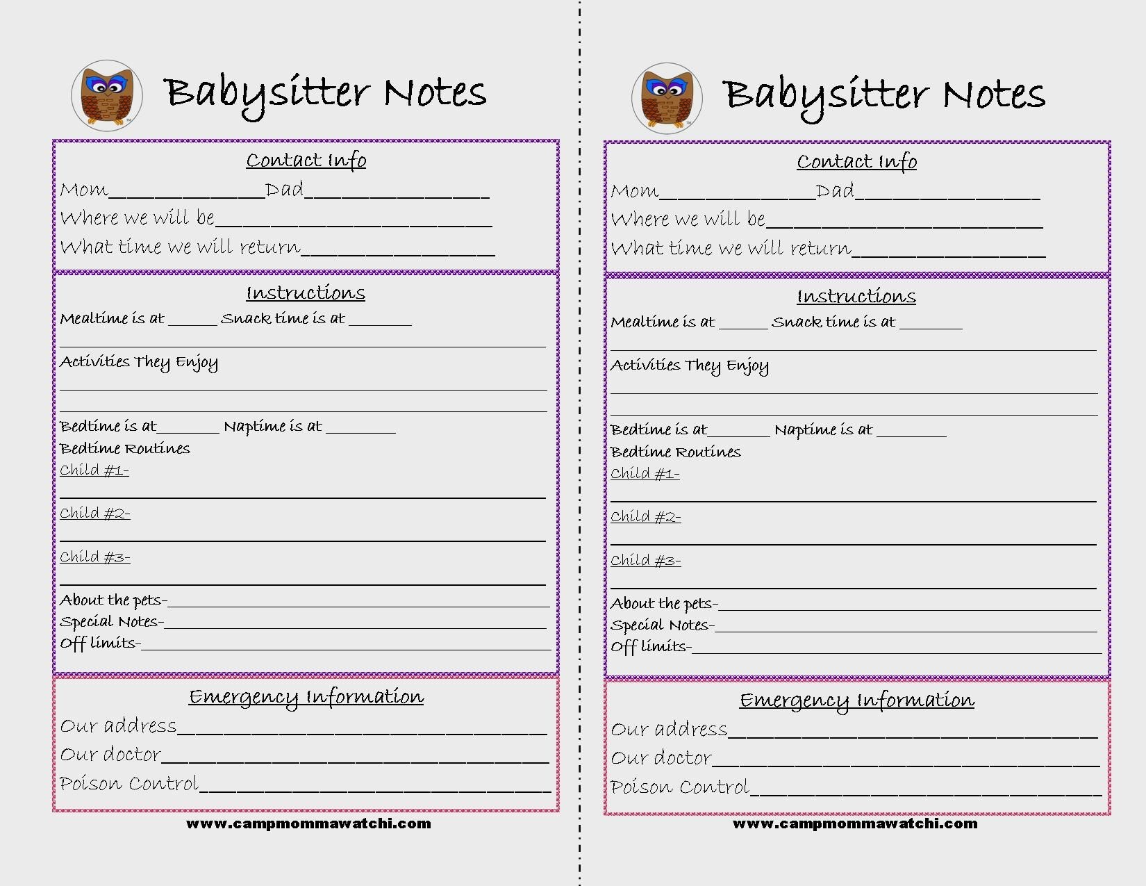 Free Printable Babysitter Notes | Camp Mommawatchi | Crafts And - Babysitter Notes Free Printable