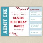 Free Printable Baseball Birthday Party Invitations | Birthday Party   Free Printable Baseball Ticket Birthday Invitations