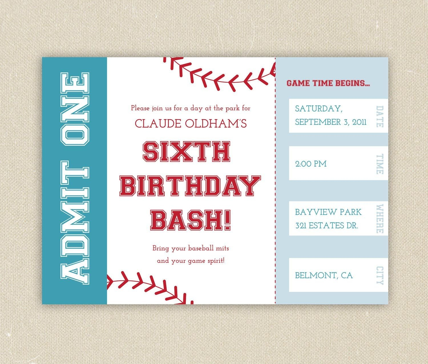Free Printable Baseball Birthday Party Invitations | Birthday Party - Free Printable Baseball Ticket Birthday Invitations