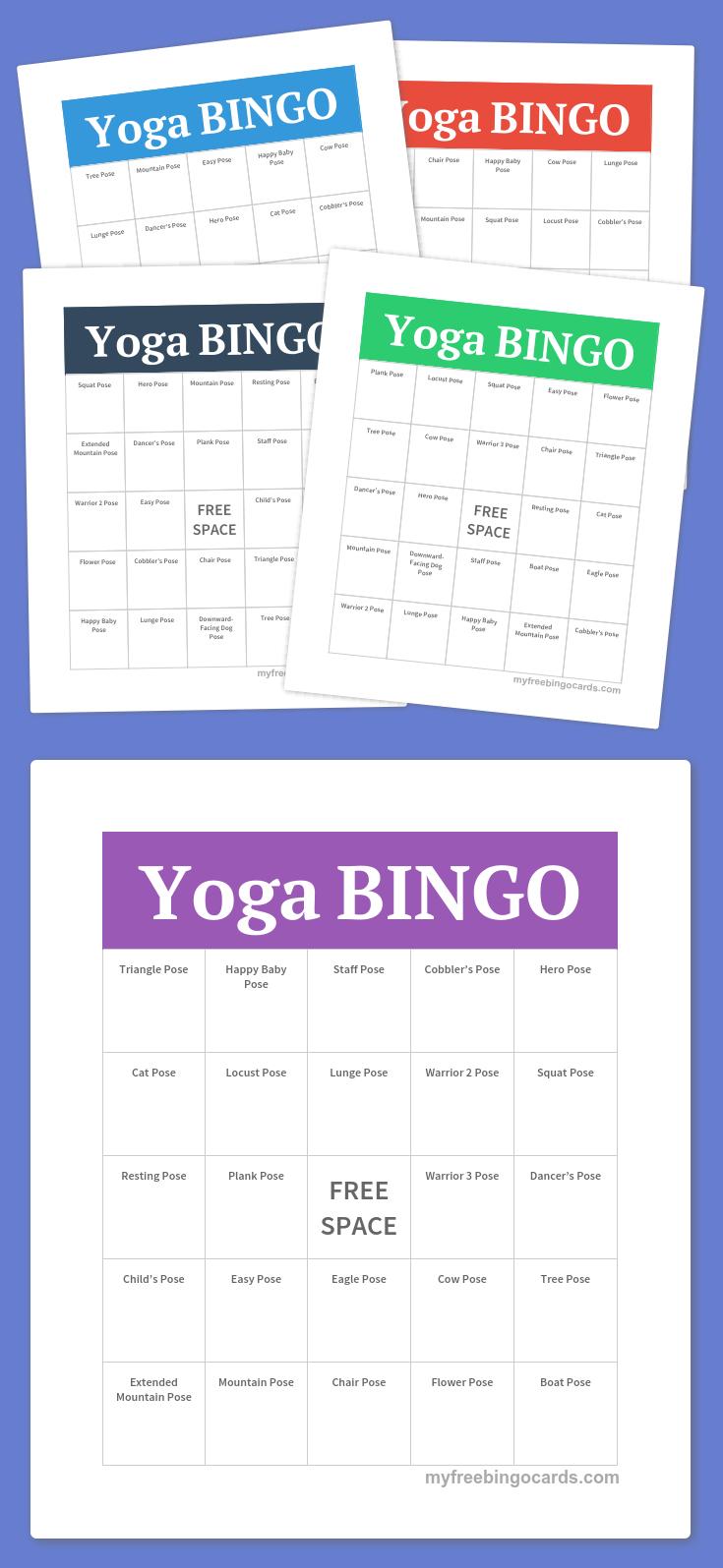 Free Printable Bingo Cards | Yoga Poses | Free Bingo Cards, Free - Free Bingo Patterns Printable