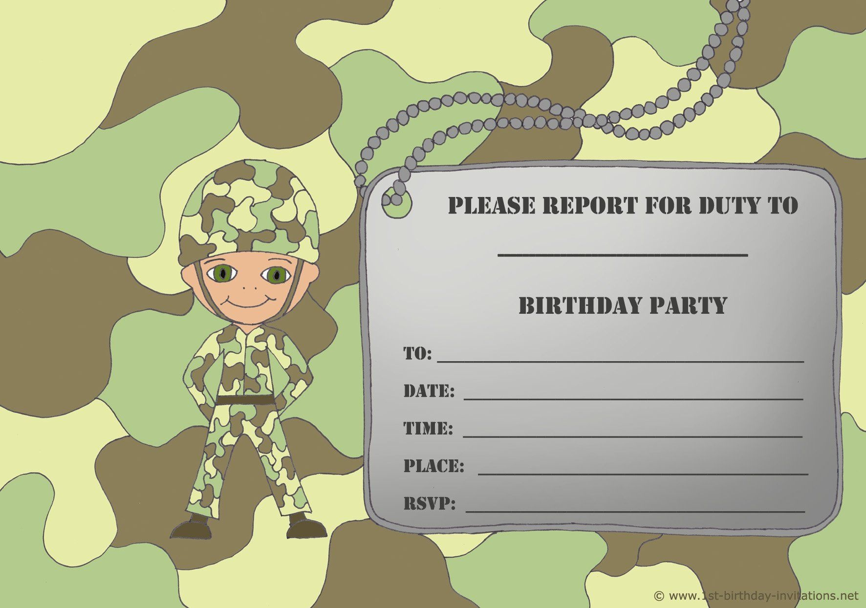 Free Printable Birthday Invitations For Boy - New Birthday Card - Free Printable Camouflage Birthday Cards