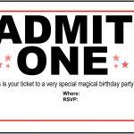 Free Printable Birthday Party Invitations   Kansas Magician   Magic   Free Printable Ticket Invitation Templates