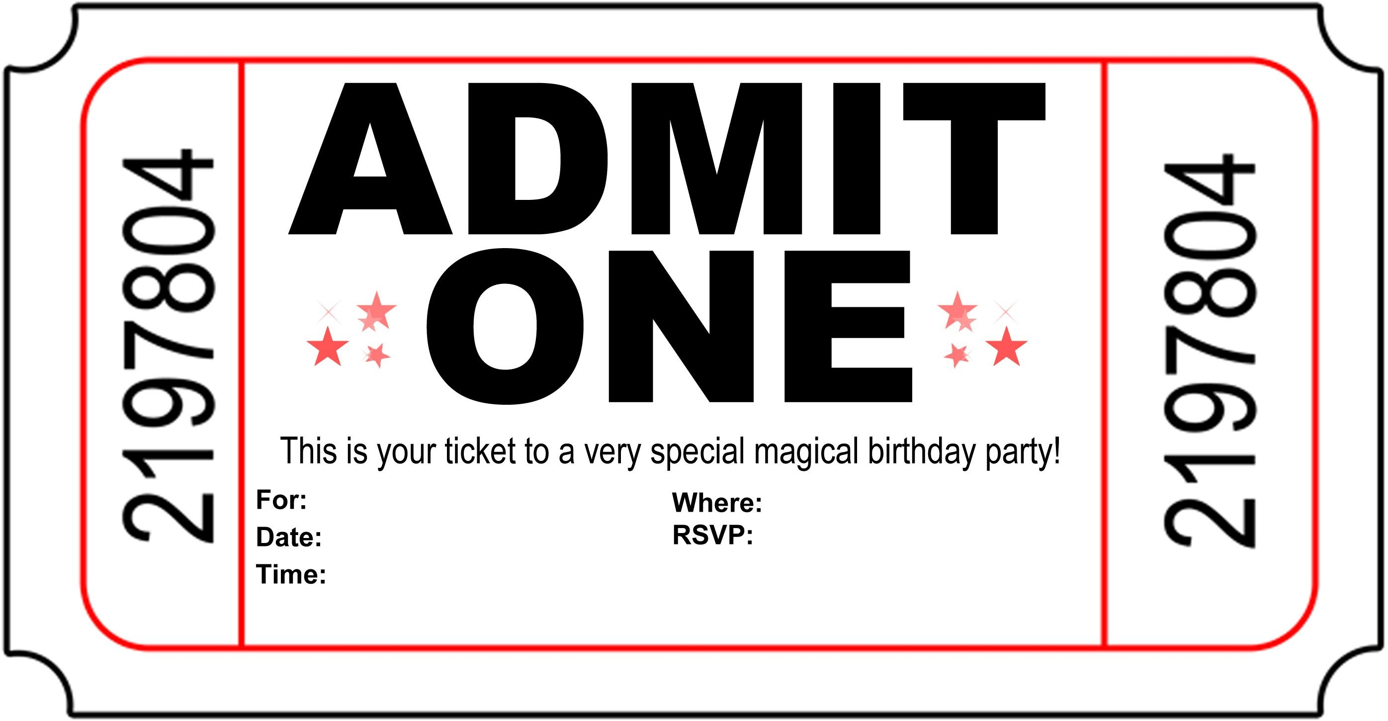 Free Printable Birthday Party Invitations - Kansas Magician   Magic - Free Printable Ticket Invitation Templates