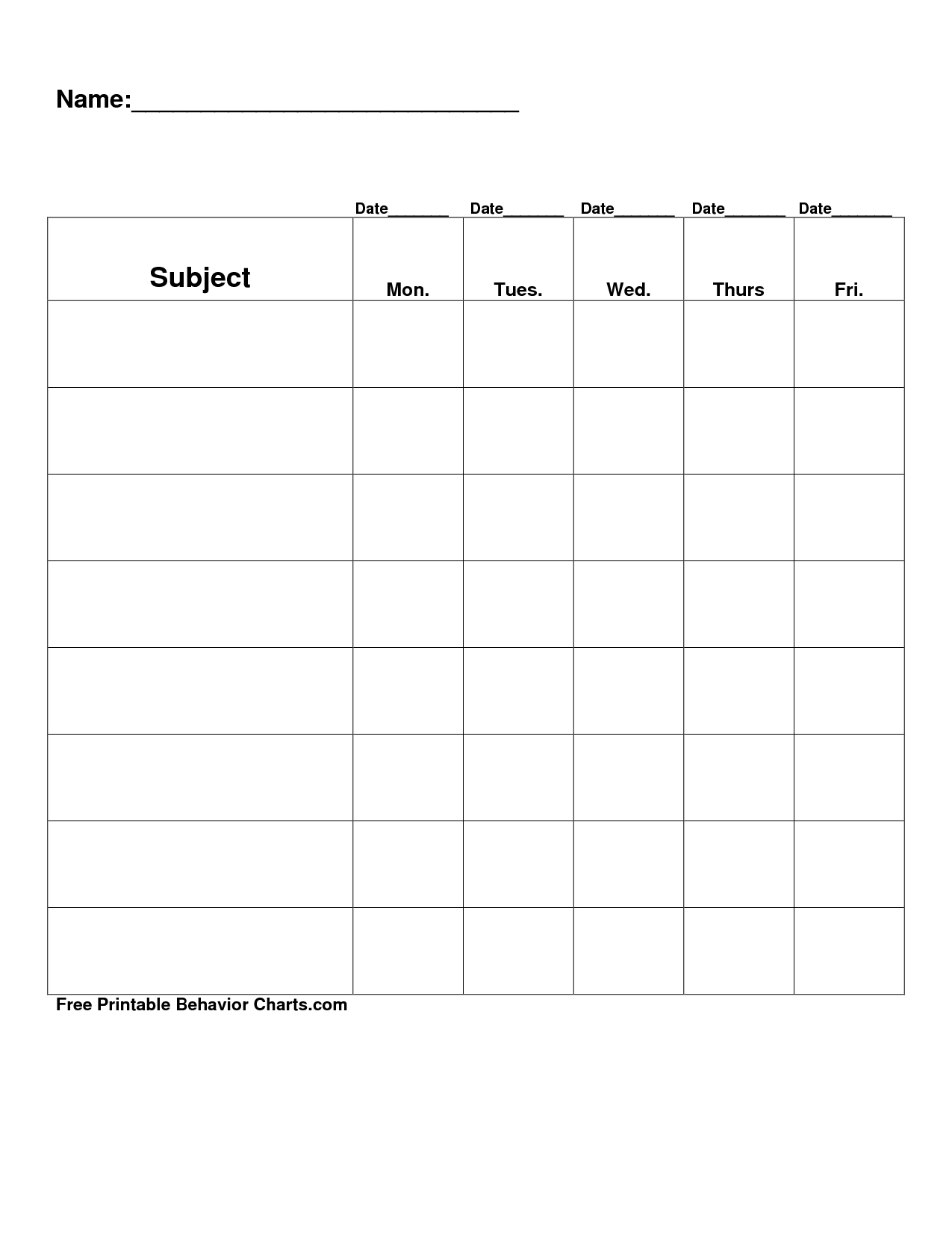 Free Printable Blank Charts | Free Printable Behavior Charts Com - Free Printable Behavior Charts