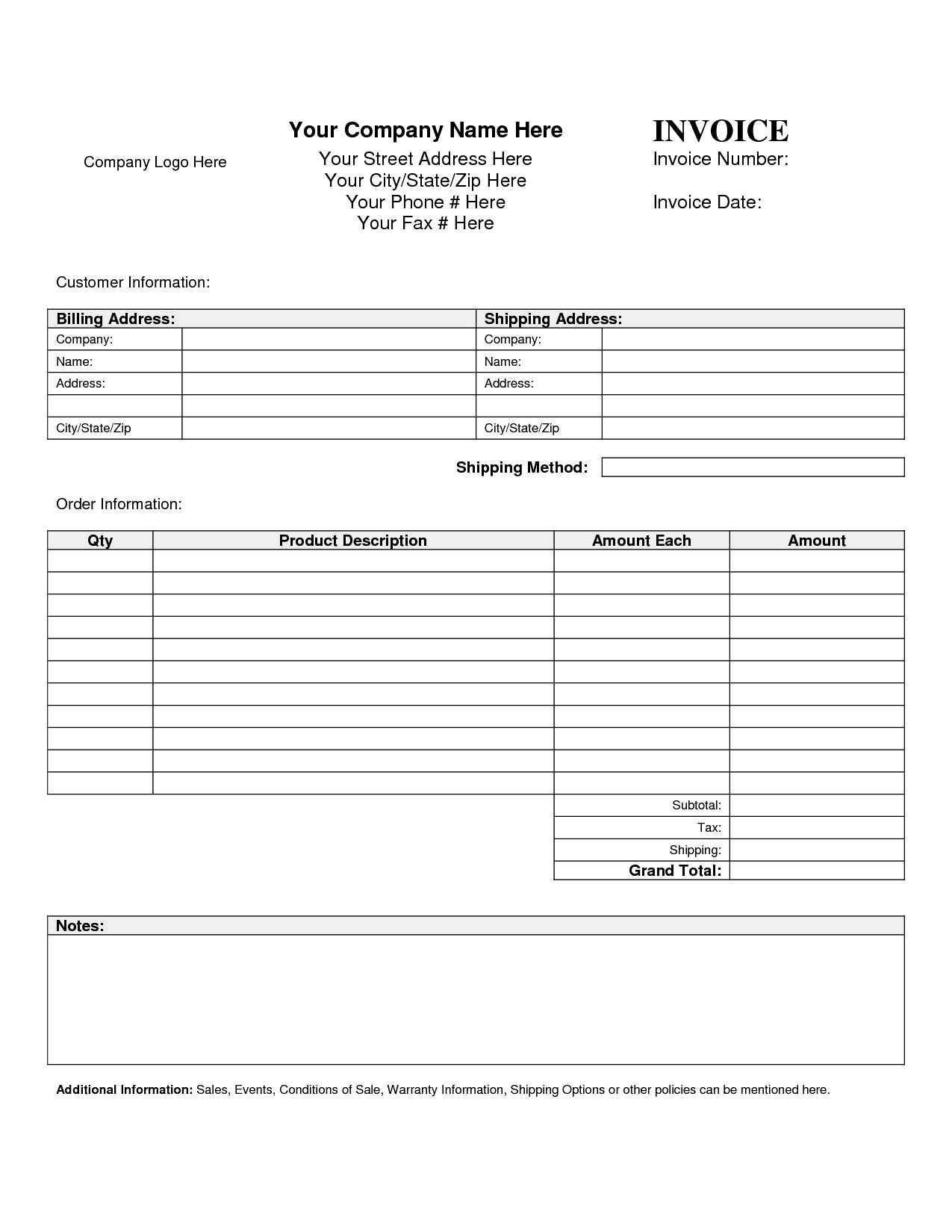 Free Printable Blank Invoice Sheet Templates Word Template Sample Uk - Free Printable Customer Information Sheets