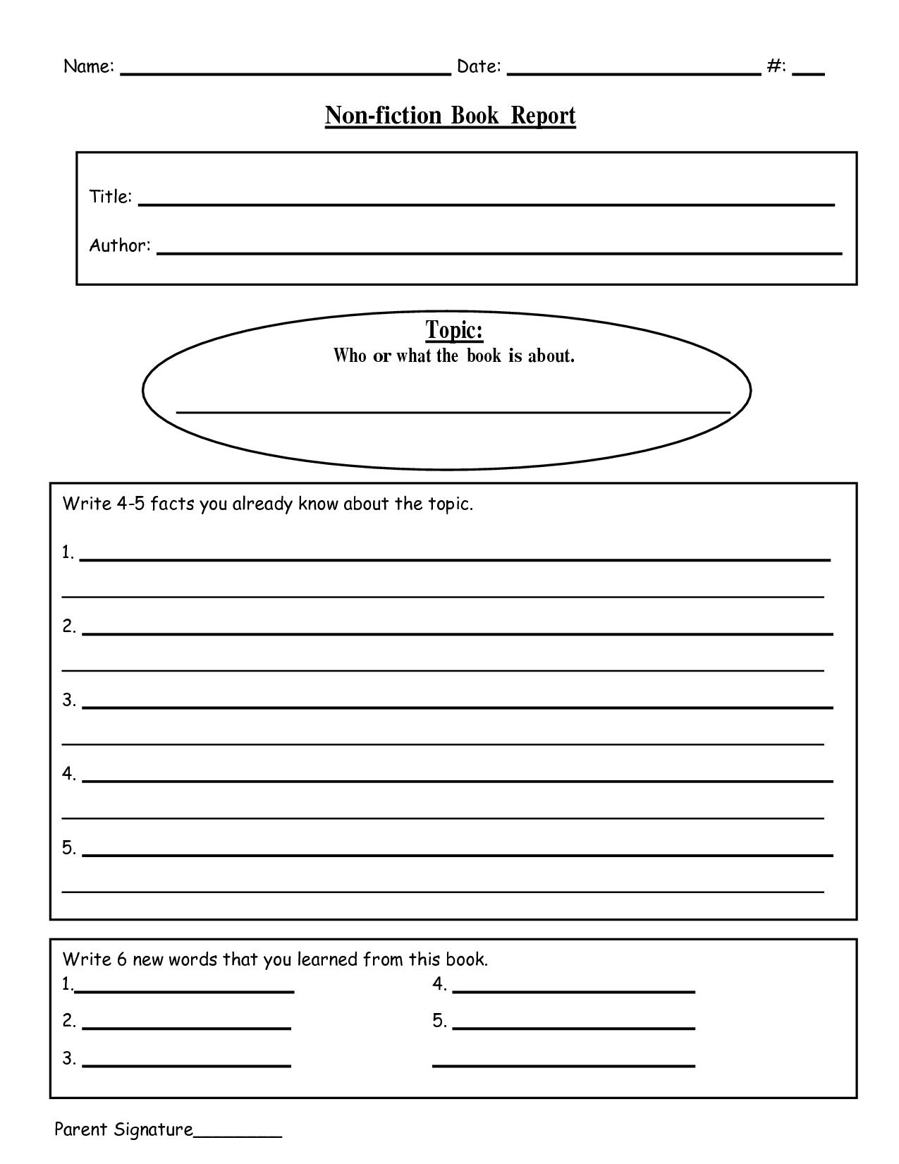Free Printable Book Report Templates | Non-Fiction Book Report.doc - Free Printable Books For 5Th Graders