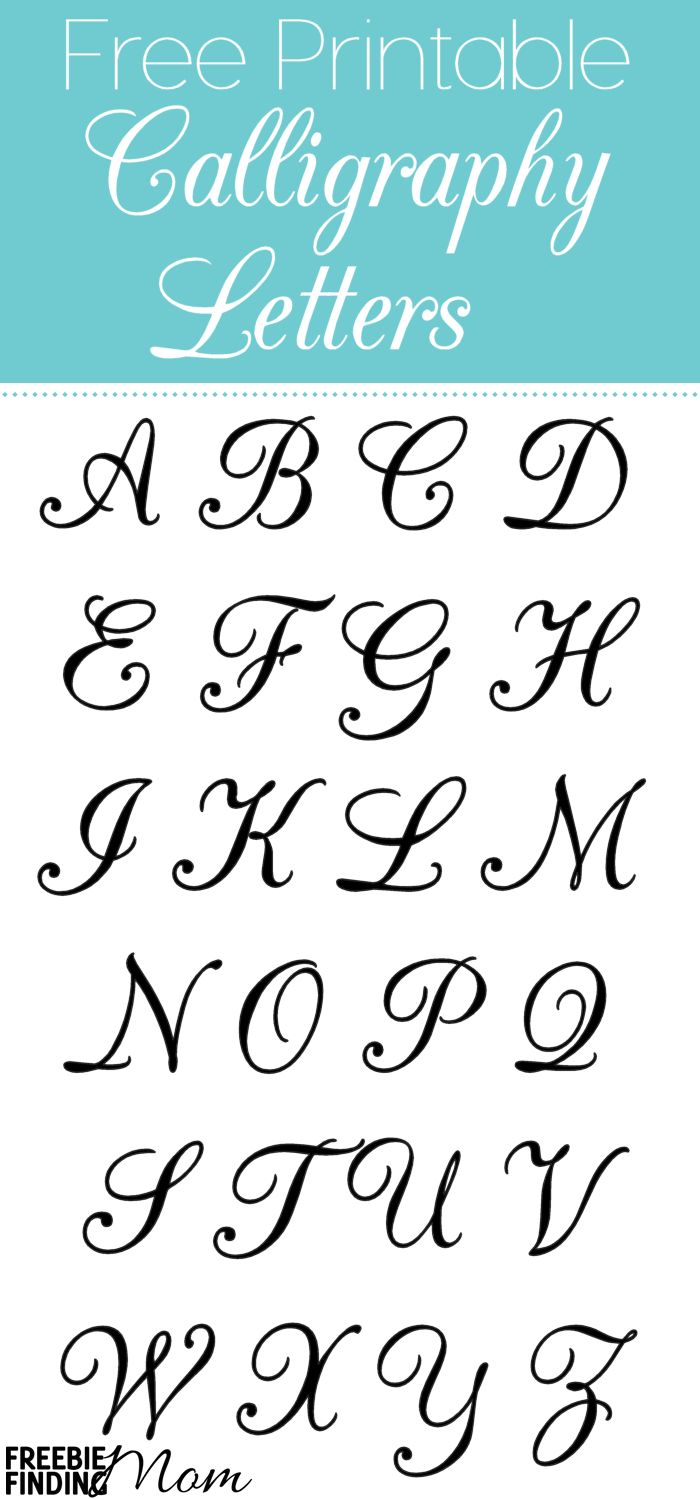 Free Printable Calligraphy Letters | Calligraphy | Alphabet Stencils - Free Printable Calligraphy Letter Stencils