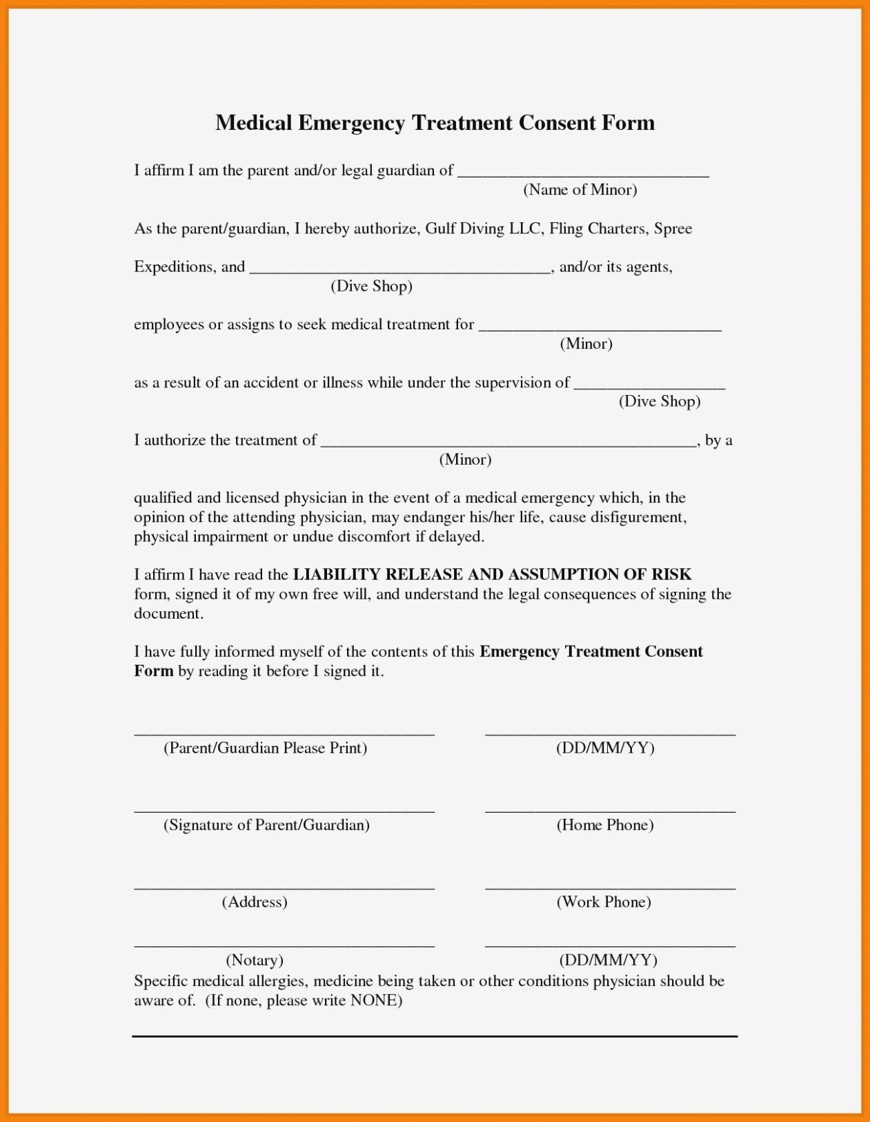 Free Printable Child Medical Consent Form For Grandparents | Resume - Free Printable Medical Consent Form