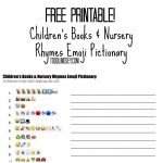 Free Printable! Children's Books & Nursery Rhymes Emoji Pictionary   Emoji Baby Shower Game Free Printable