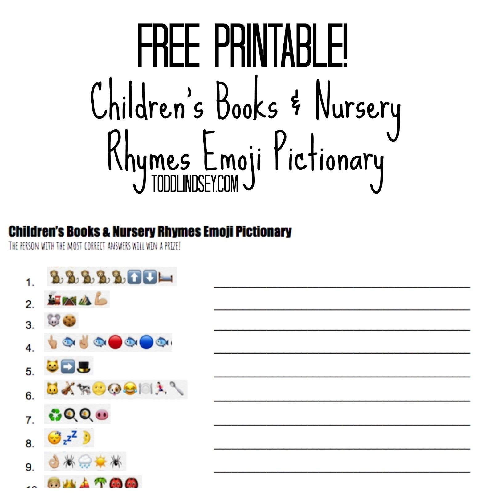Free Printable! Children's Books & Nursery Rhymes Emoji Pictionary - Emoji Baby Shower Game Free Printable