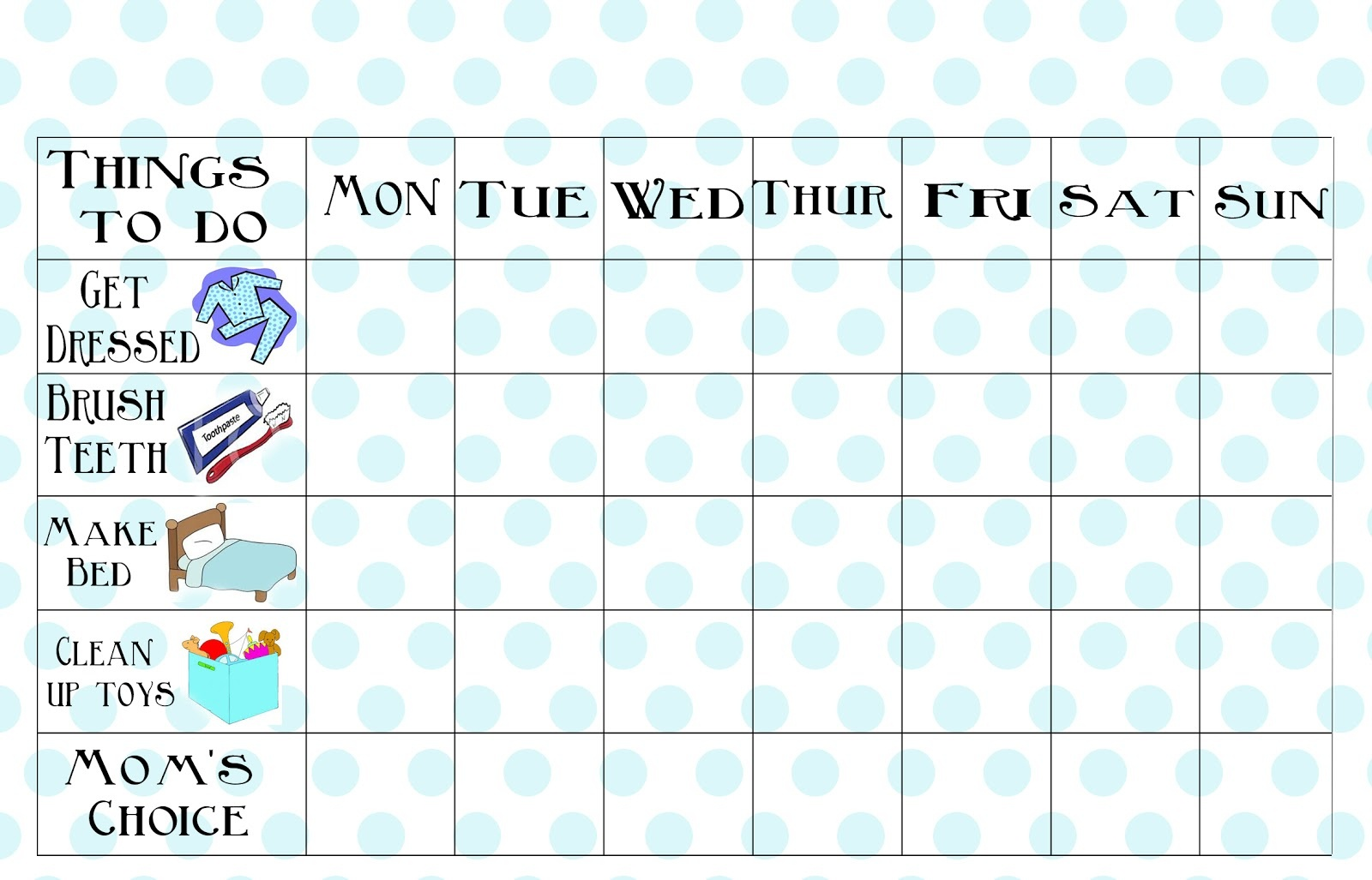 Free Printable Chore Chart - Free Printable Preschool Job Chart Pictures