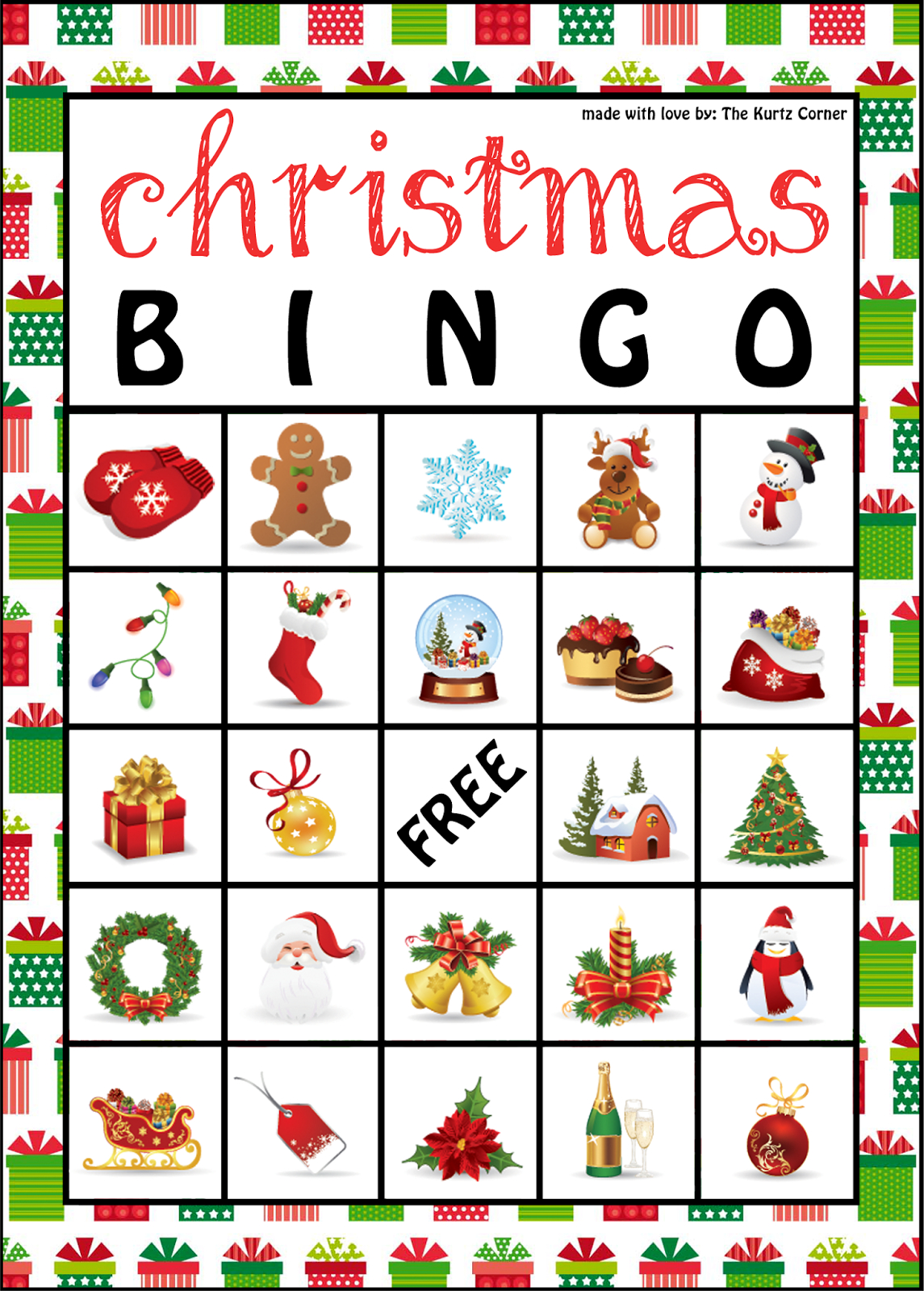 Free Printable Christmas Bingo Cards From The Kurtz Corner | Bingo - Free Christmas Bingo Game Printable