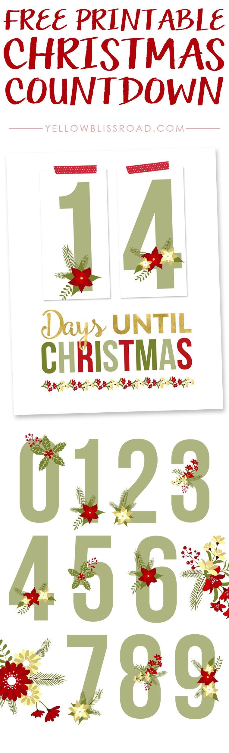 Free Printable Christmas Countdown - Yellow Bliss Road - Free Printable Christmas Photo Collage