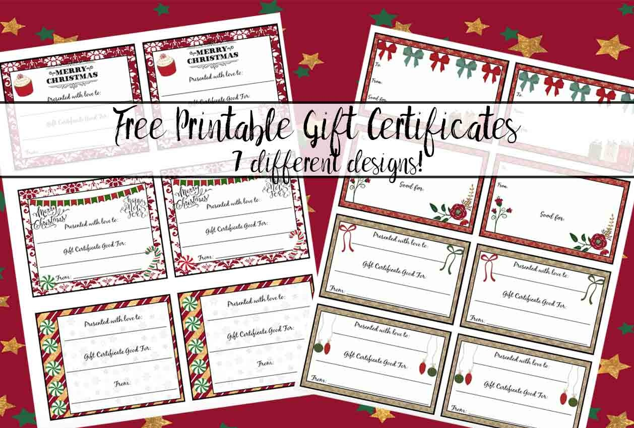Free Printable Christmas Gift Certificates: 7 Designs, Pick Your - Free Printable Gift Certificate Christmas