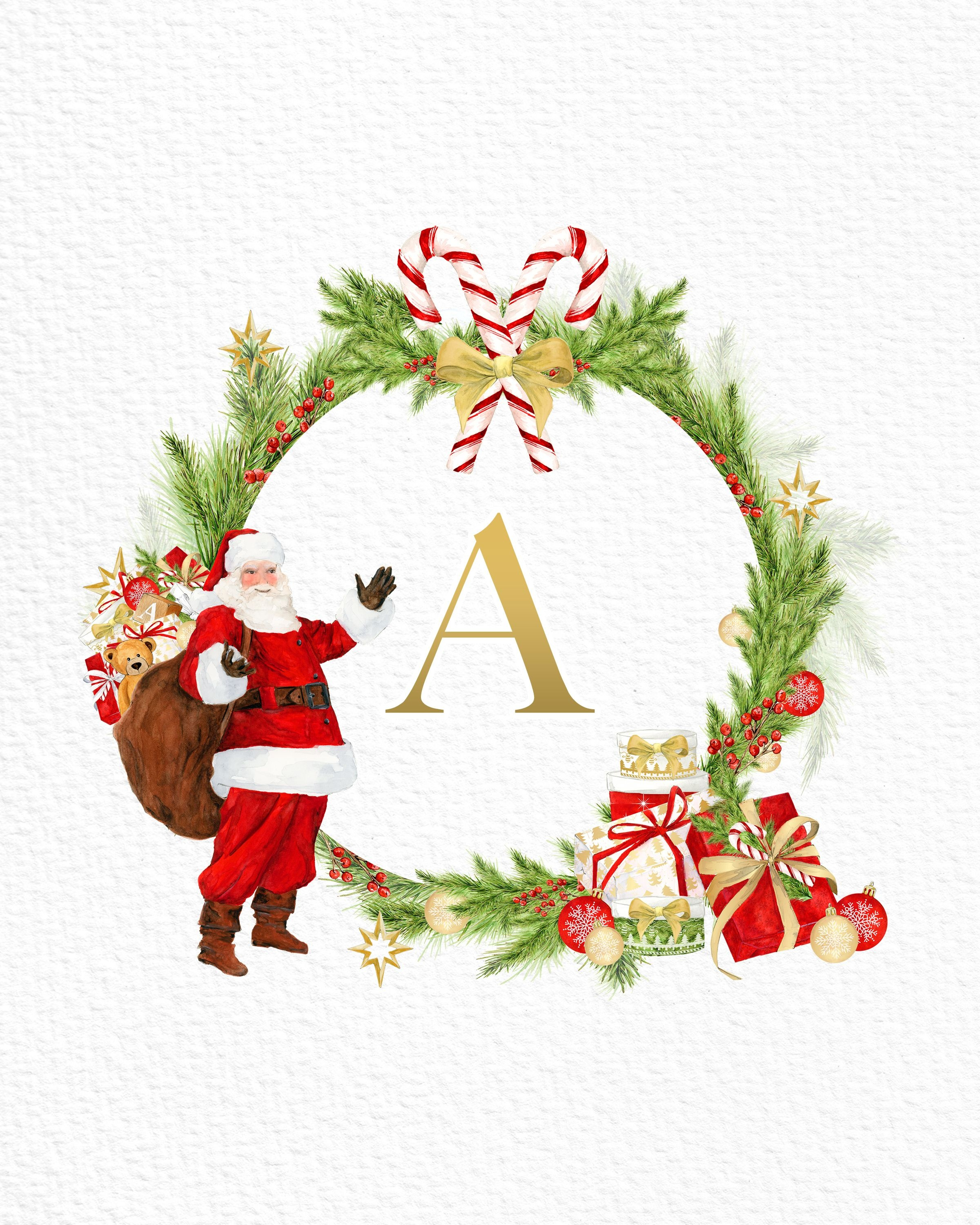 Free Printable Christmas Santa Claus Monograms And More | Christmas - Free Printable Christmas Alphabet