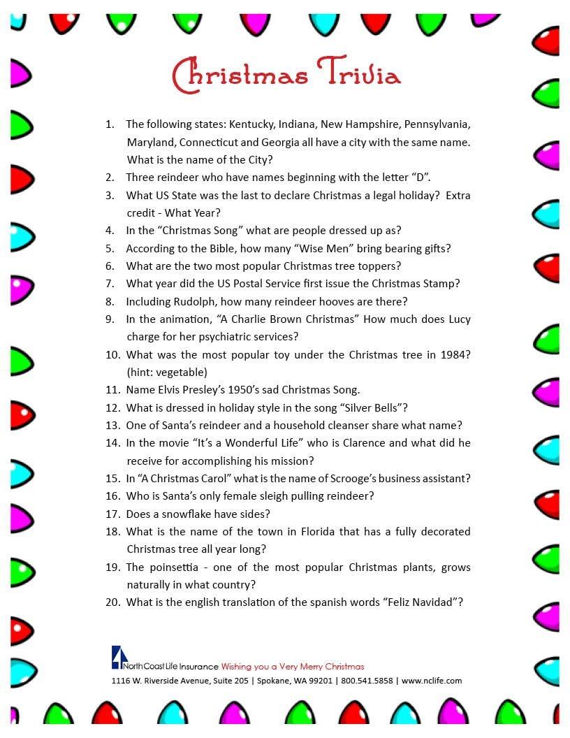 Free Printable Christmas Trivia Questions | Trivia | Christmas - Free Printable Christmas Trivia Quiz