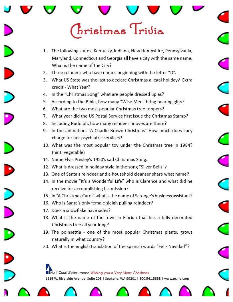 Free Printable Christmas Trivia Questions | Trivia | Christmas - Holiday Office Party Games Free Printable