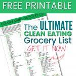 Free Printable: Clean Eating Grocery List   Clean Eating With Kids   Free Printable Clean Eating Grocery List