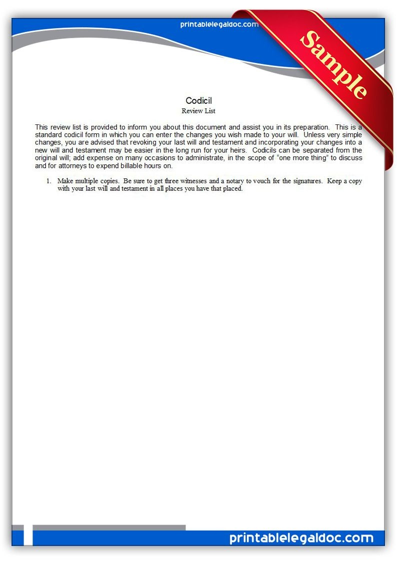 Free Printable Codicil Legal Forms | Free Legal Forms | Online Form - Free Legal Forms Online Printable