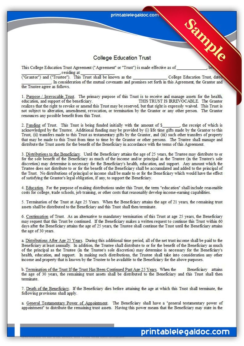 Free Printable College Education Trust | Sample Printable Legal - Free Printable College Degrees