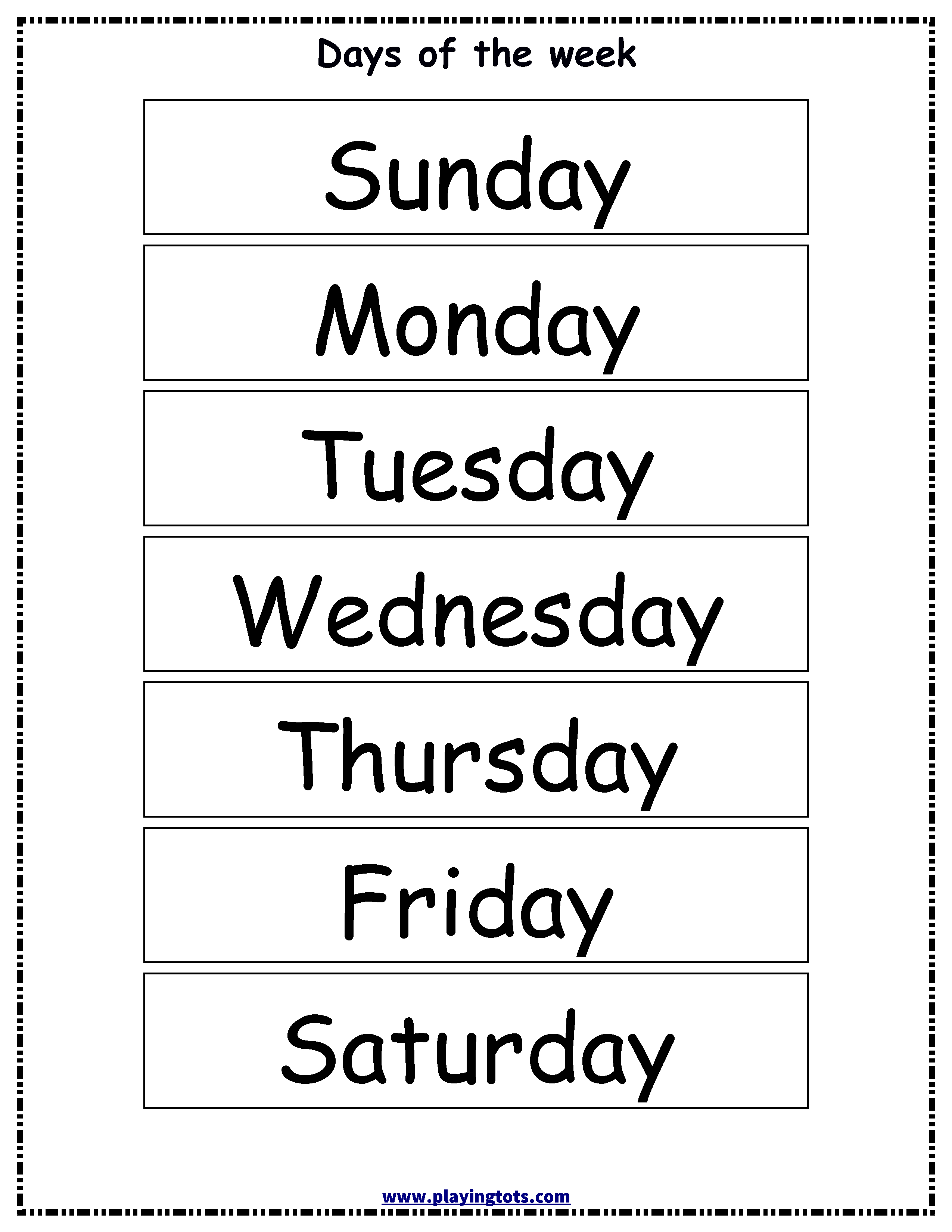 Free Printable Days Of The Week Chart | Classroom Ideas | Learning - Free Printable Days Of The Week
