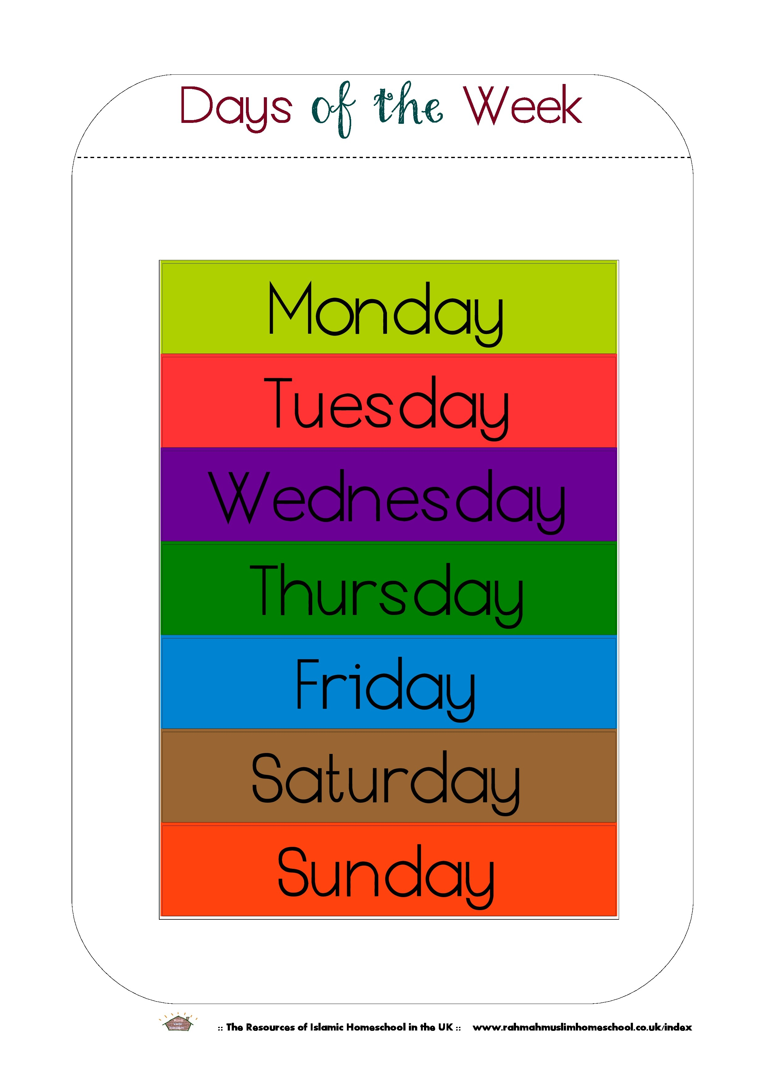 Free Printable Days Of The Week Workbook And Poster | The Resources - Free Printable Days Of The Week