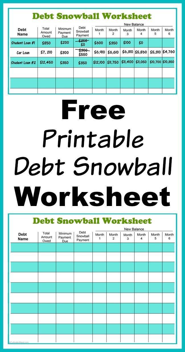 Free Printable Debt Snowball Worksheet | Living Frugally - Money - Free Printable Debt Snowball Worksheet