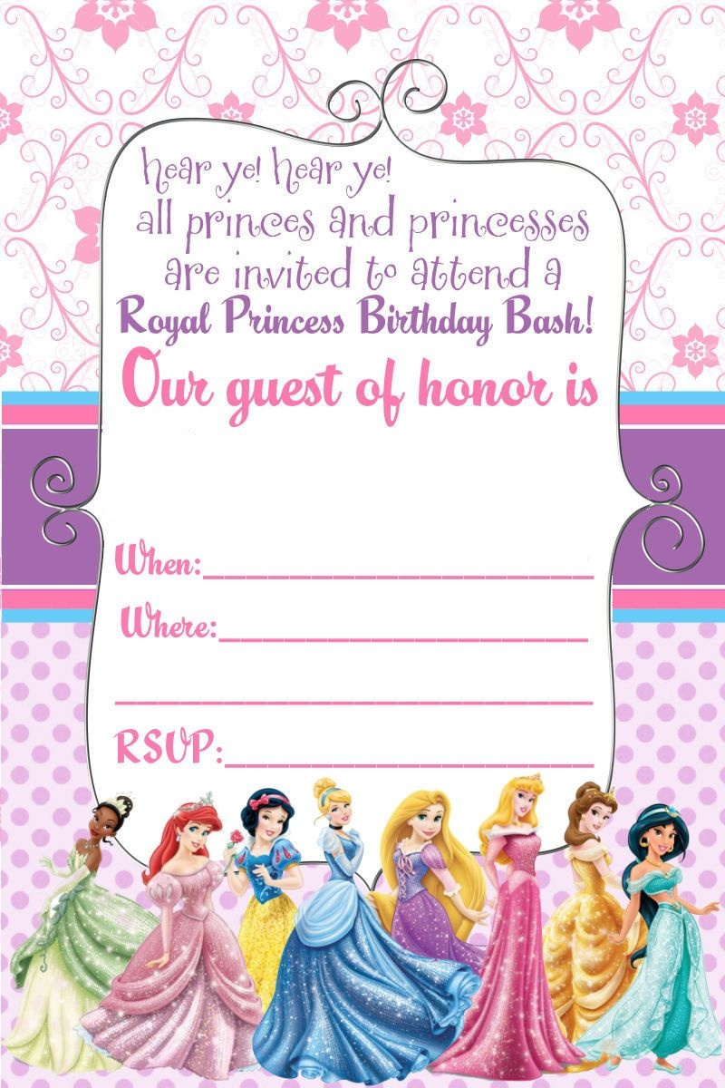 Free Printable Disney Princess Ticket Invitation | Free Printable - Disney Princess Birthday Invitations Free Printable