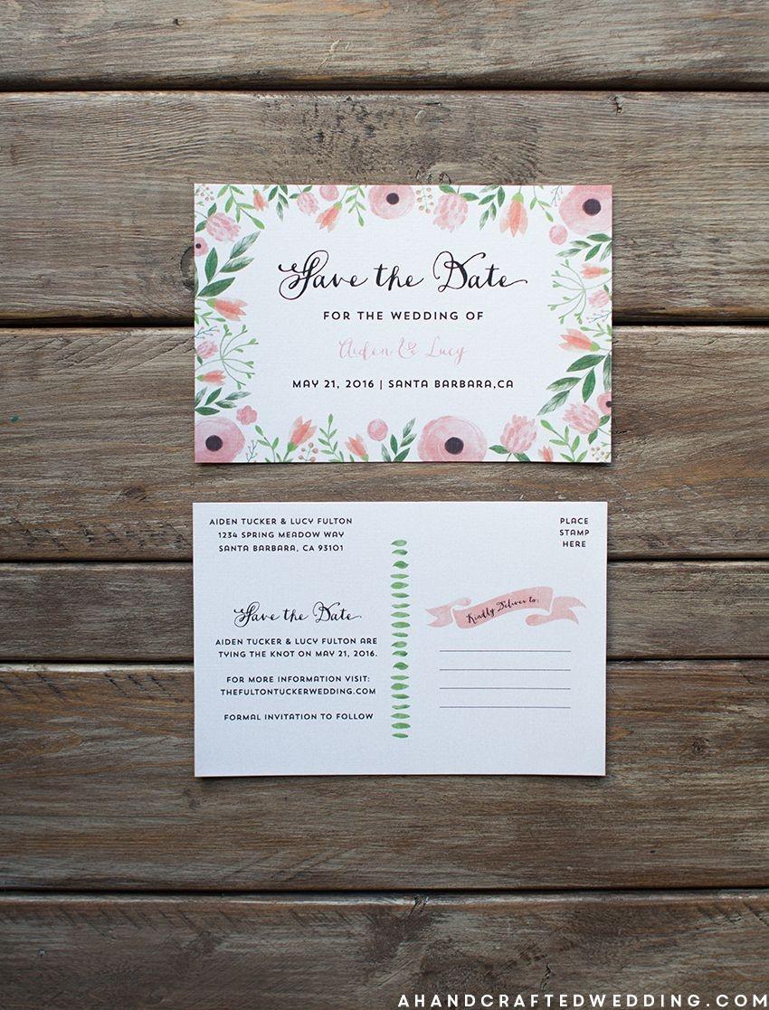 Free Printable Diy Save The Date Postcard | Wedding October 2016 - Free Printable Postcard Invitations Template