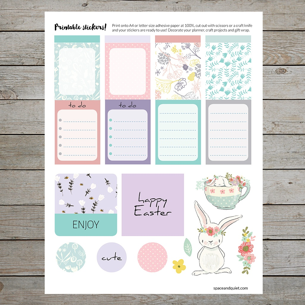 Free Printable Easter Stickers For Planners, Gift Wrapping And Craft - Free Printable Easter Stationery