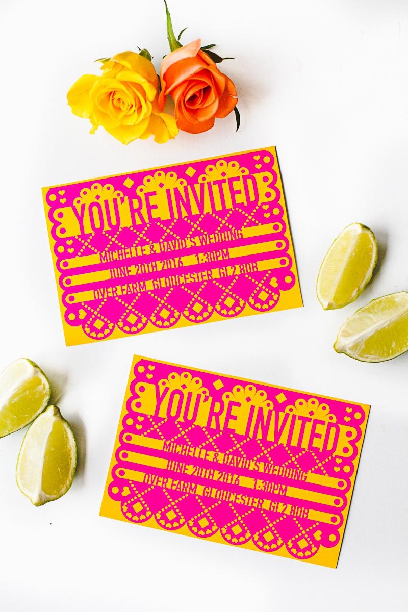 Free Printable & Editable Papel Picado Mexican Wedding Invitation - Free Printable Mexican Fiesta Invitations