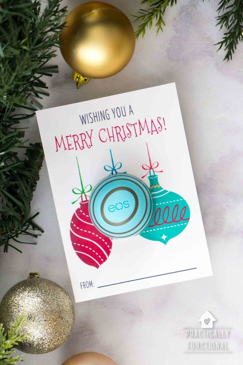 Free Printable Eos Lip Balm Christmas Gifts | Practically Functional - Free Printable Eos Christmas Card