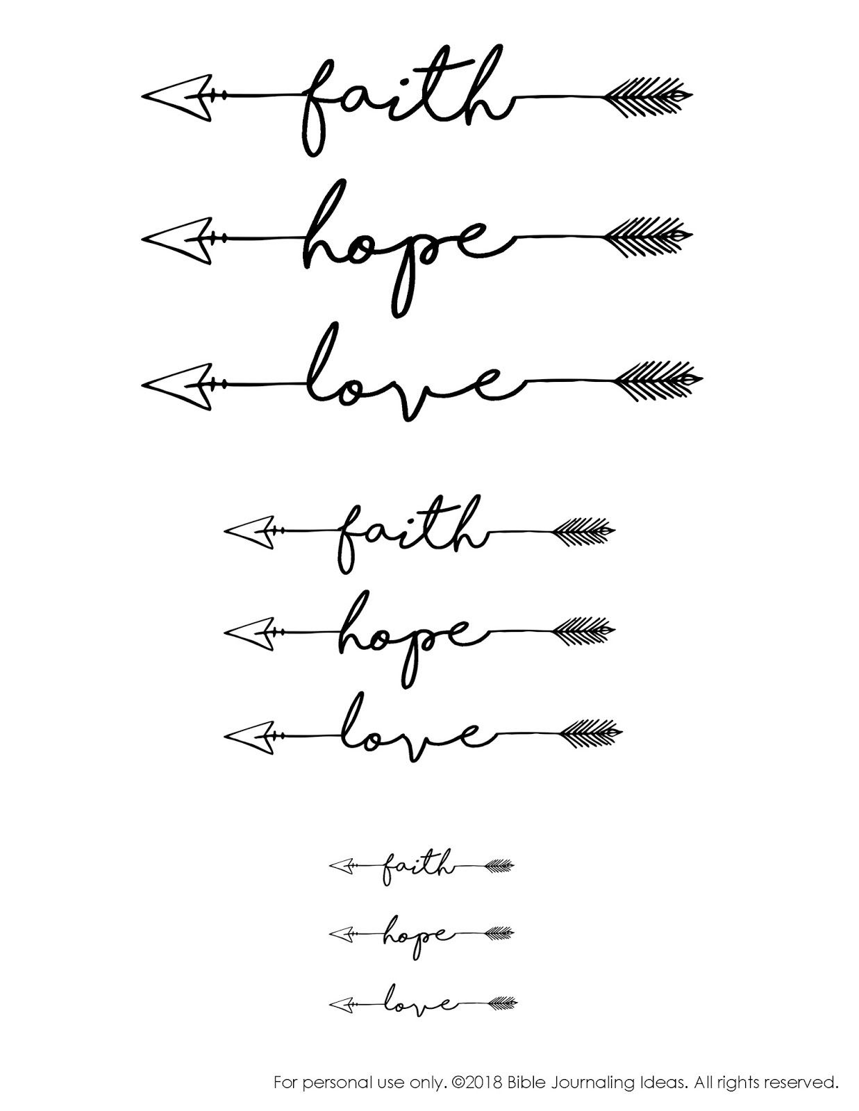 Free Printable - Faith, Hope, Love Arrows | Bible Journaling | Faith - Free Printable Arrow Stencils