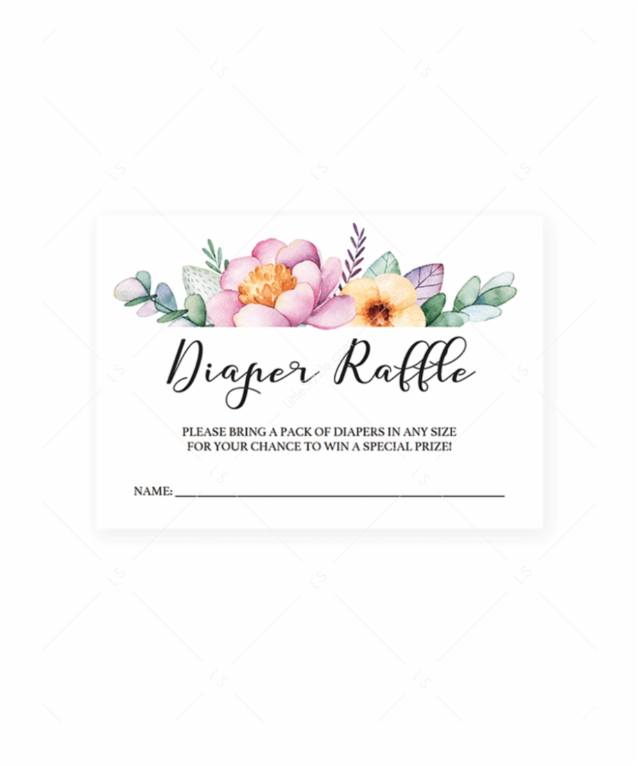Free Printable Floral Diaper Raffle Tickets Free Png Images - Free Printable Diaper Raffle Sign