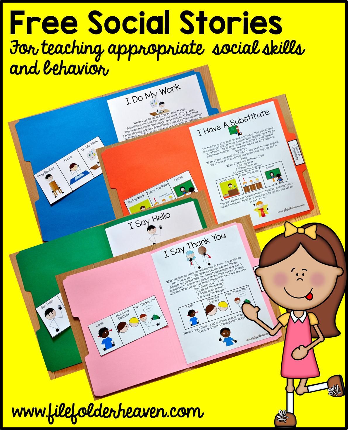"Free, Printable ""folder Stories."" Simple One Page Social Stories - Free Printable Social Skills Activities Worksheets"