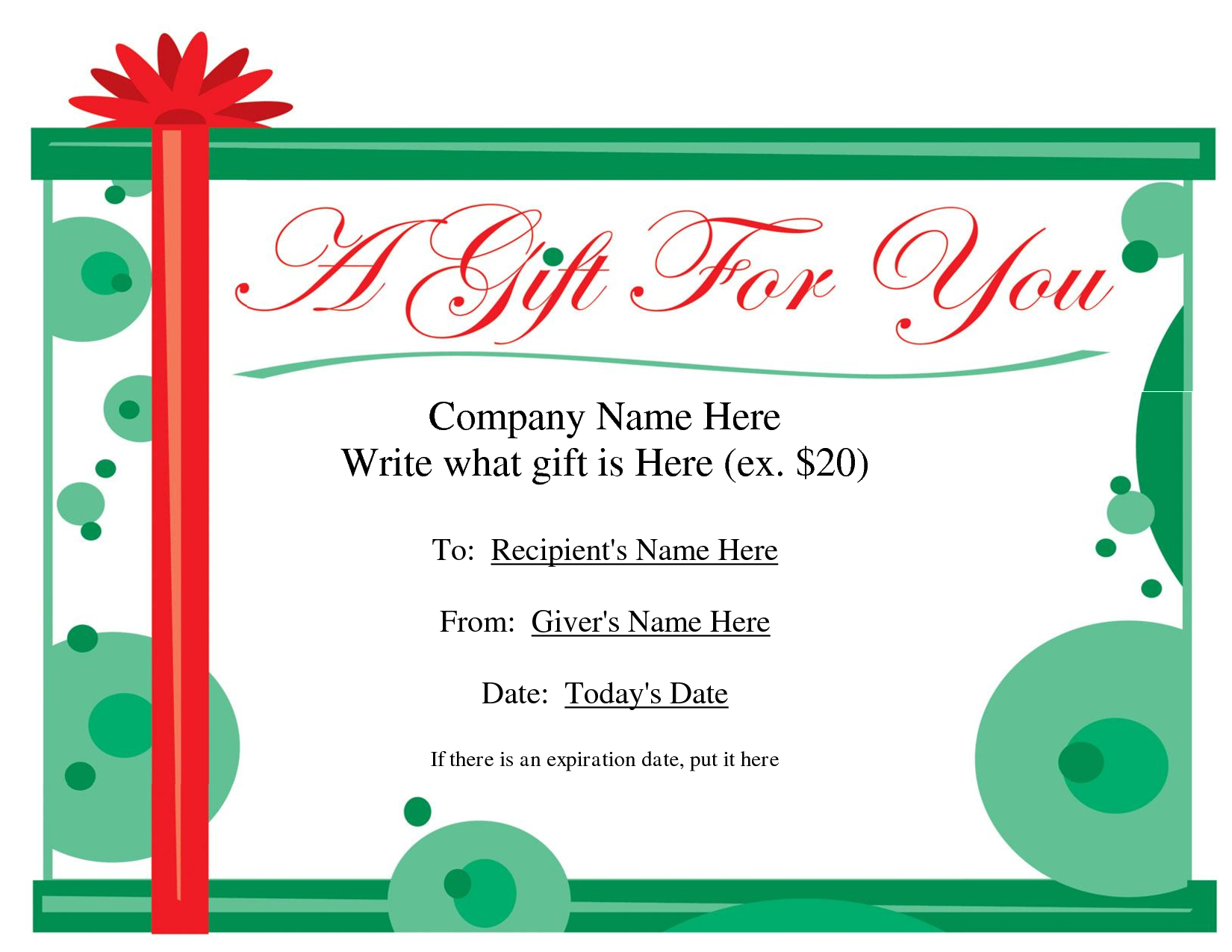 Free Printable Gift Certificate Template   Free Christmas Gift - Free Printable Gift Certificate Template