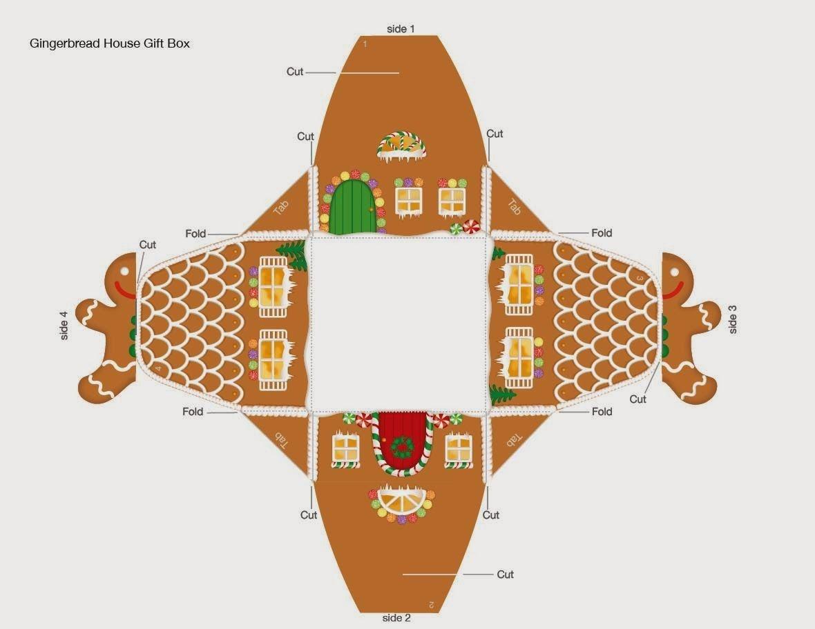 Free Printable Gingerbread House Box. | Hollidays | Free Christmas - Free Gingerbread House Printables