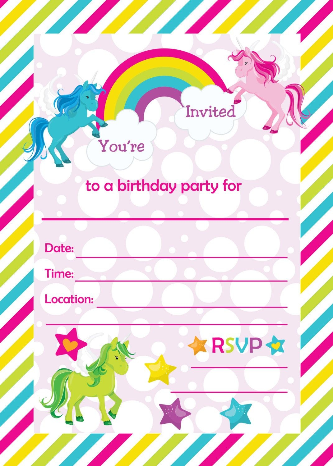 Free Printable Golden Unicorn Birthday Invitation Template - Free Printable Rainbow Unicorn Invitations