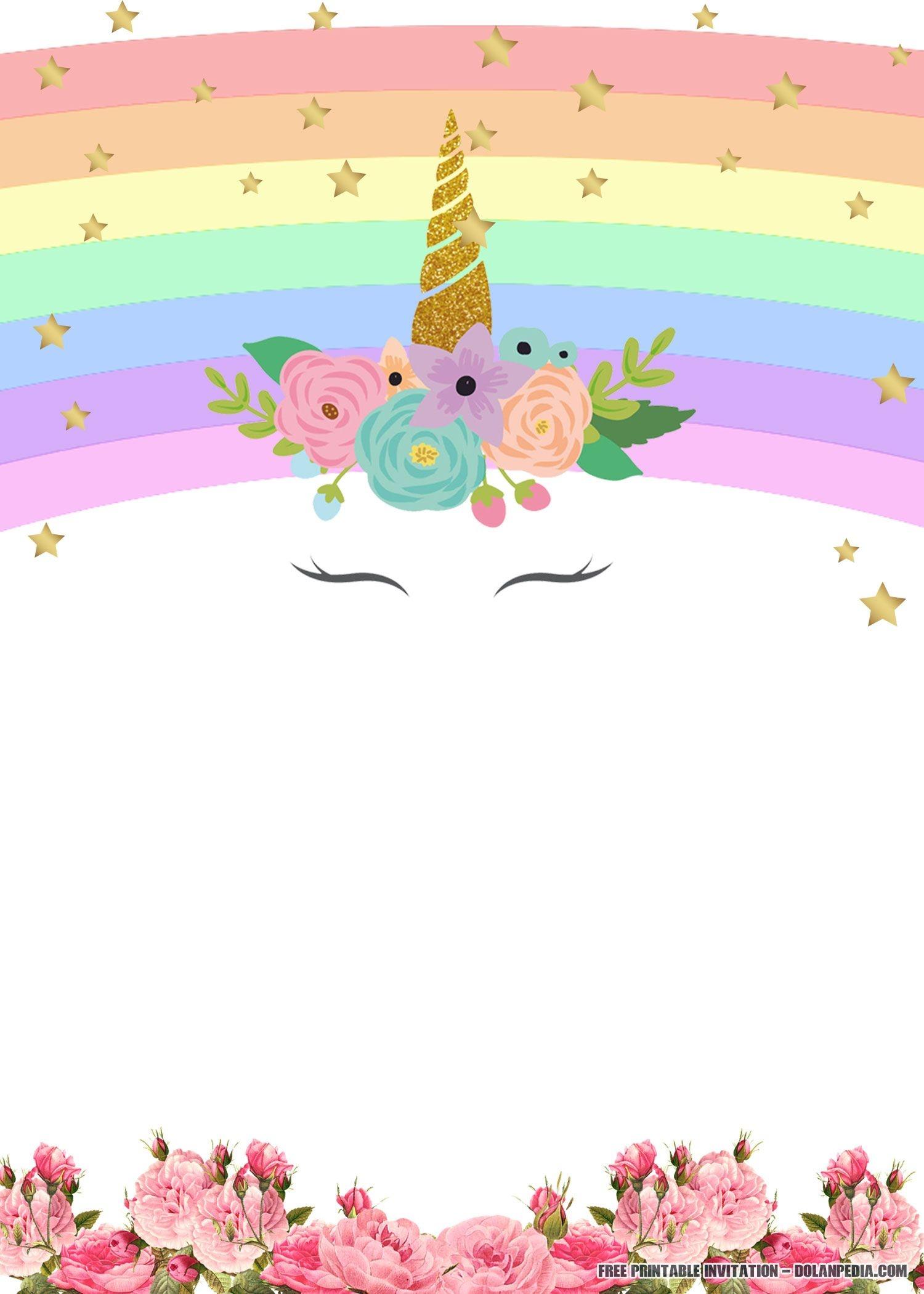 Free Printable Golden Unicorn Birthday Invitation Template | Unicorn - Free Printable Rainbow Unicorn Invitations
