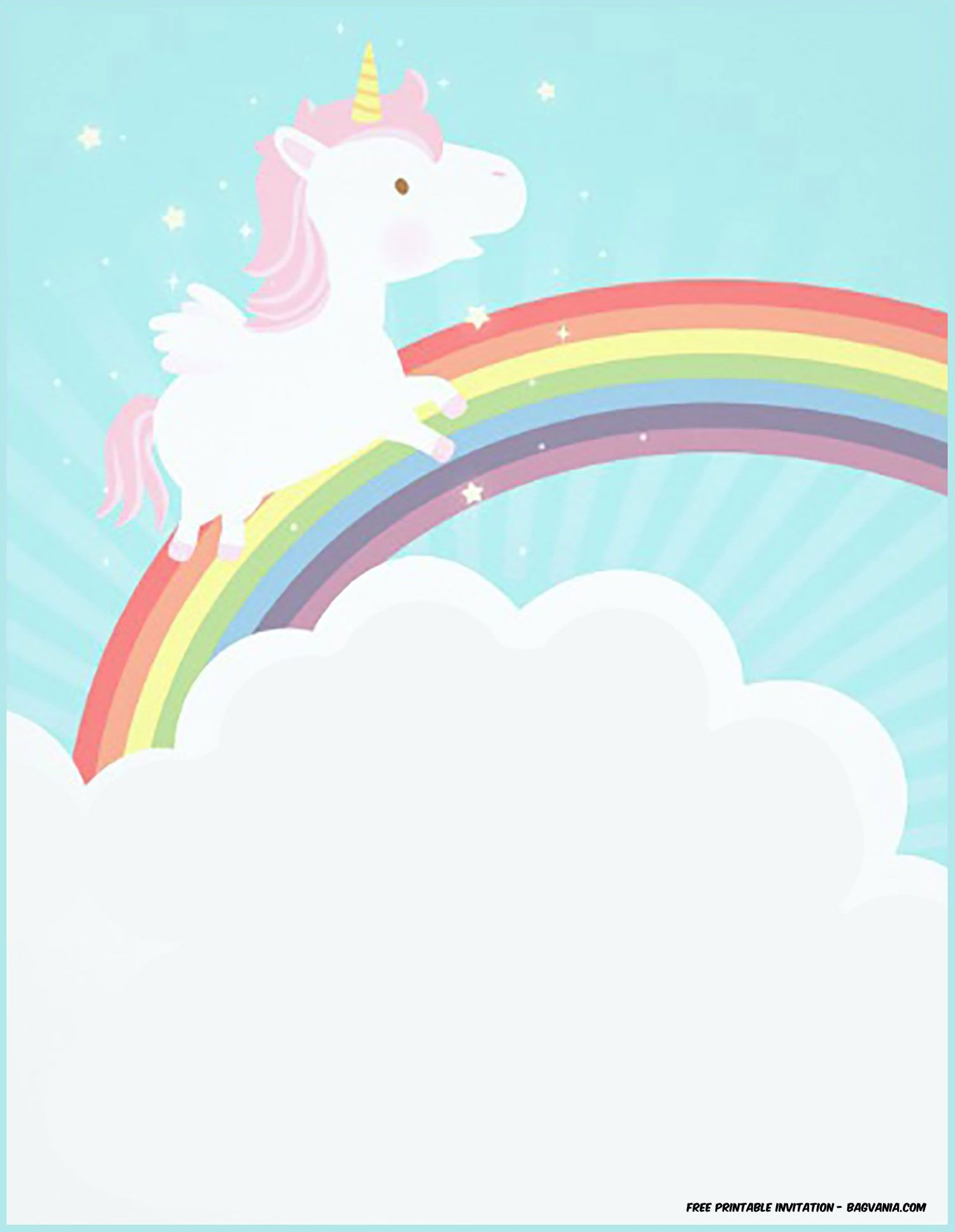 Free Printable Golden Unicorn Birthday Invitation | Unicorn - Free Printable Rainbow Unicorn Invitations