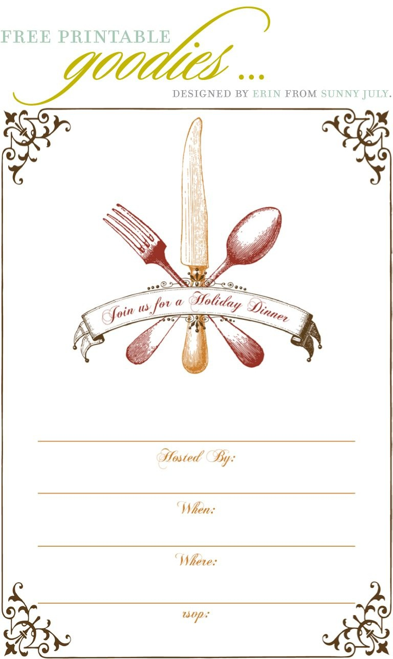 Free Printable Goodies - Sunny July | Holiday Thanksgiving | Dinner - Free Printable Thanksgiving Dinner Invitation Templates