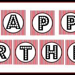 """Free Printable """"happy Birthday"""" Banner / Red, Black & White   Free Printable Banners"""