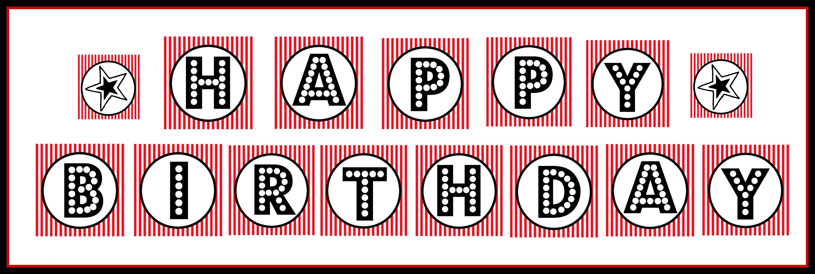"""Free Printable """"happy Birthday"""" Banner / Red, Black & White - Free Printable Banners"""