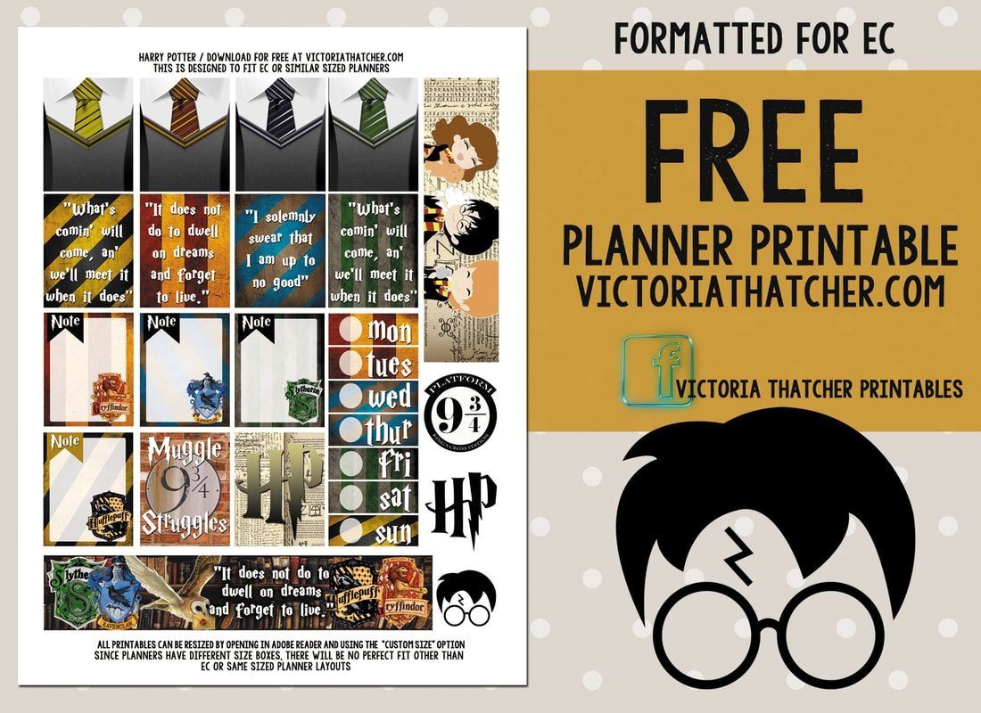 Free Printable Harry Potter Planner Stickers From Victoria Thatcher - Harry Potter Printables Pdf Free