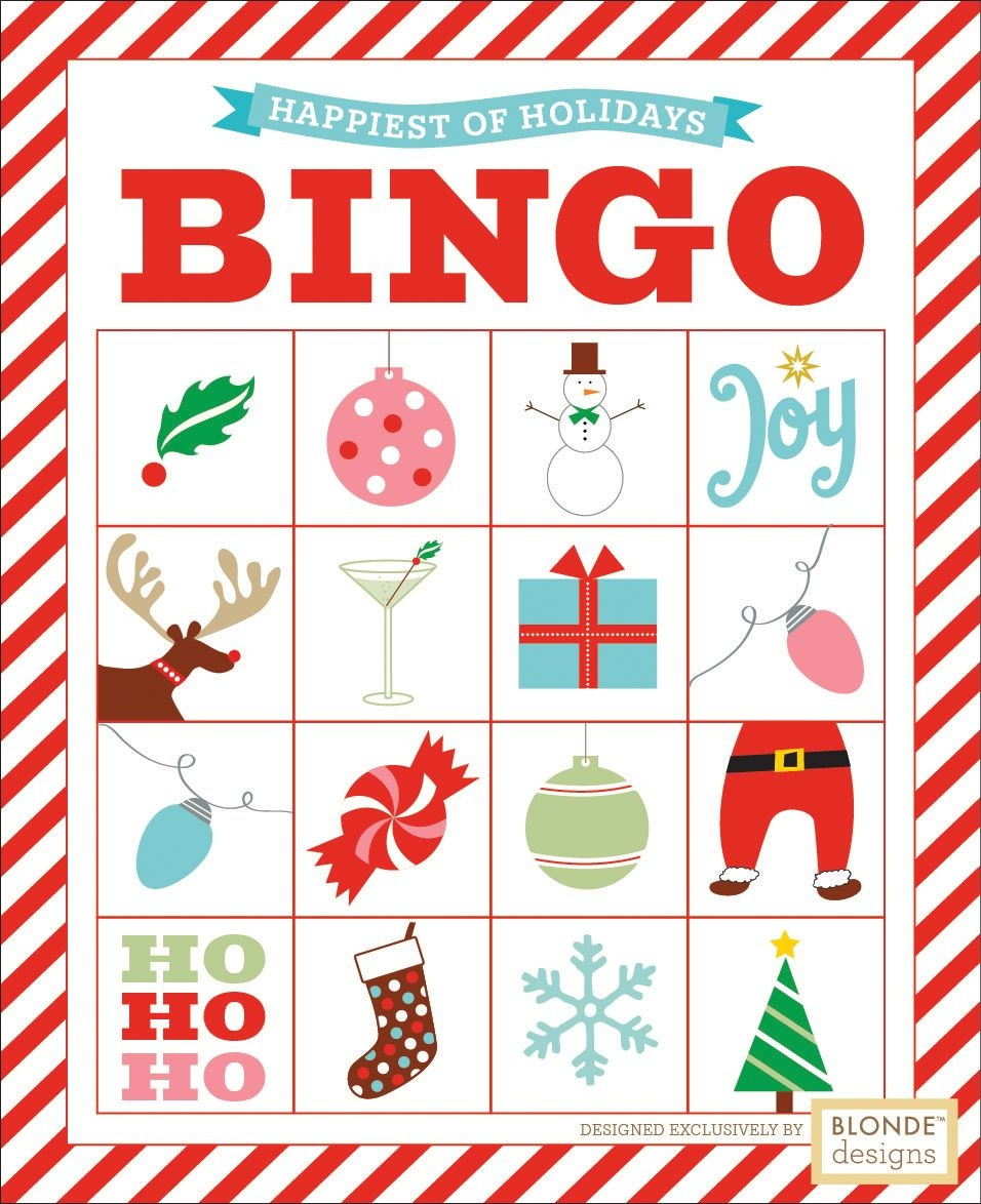Free Printable: Holiday Bingo {Blonde Designs Blog} | Christmas - Free Printable Christmas Designs