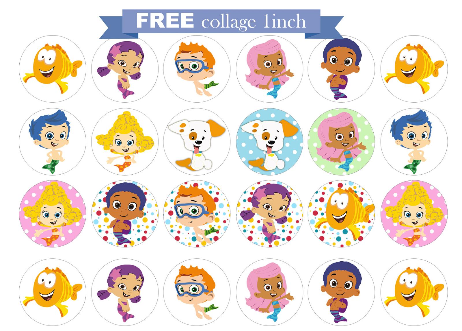 Free Printable Invitation: Bubble Guppies Free Collage 1 Inch. - Bubble Guppies Free Printables