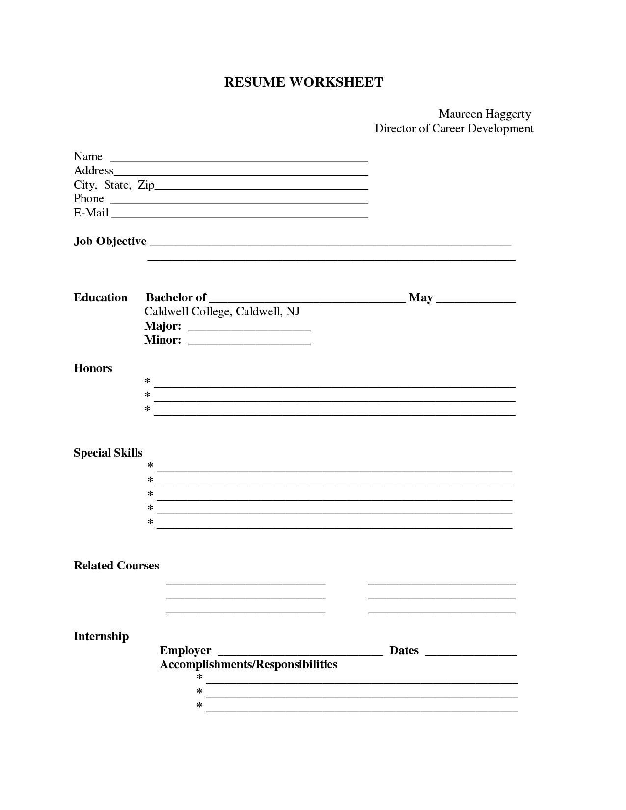 Free Printable Job Resume Forms - Kaza.psstech.co - Free Blank Resume Forms Printable