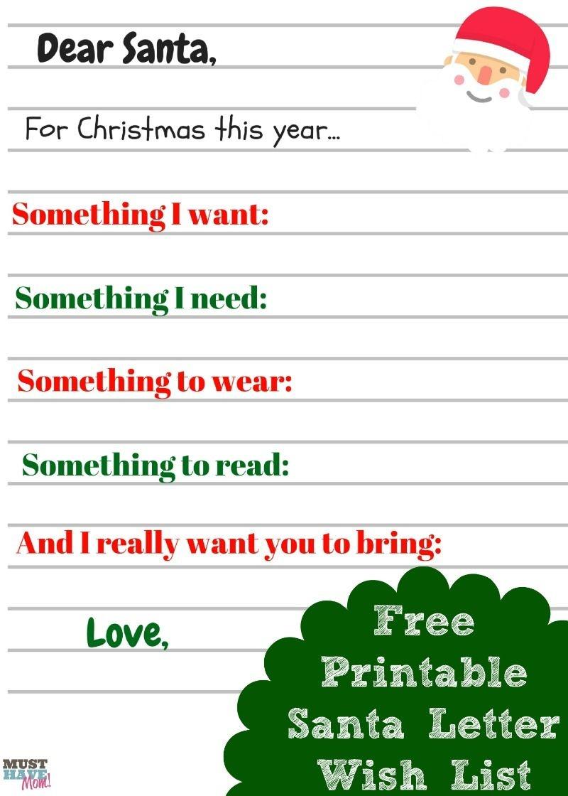 Free Printable Kids Christmas Wish List Santa Letter | Must Have Mom - Free Printable Christmas Wish List